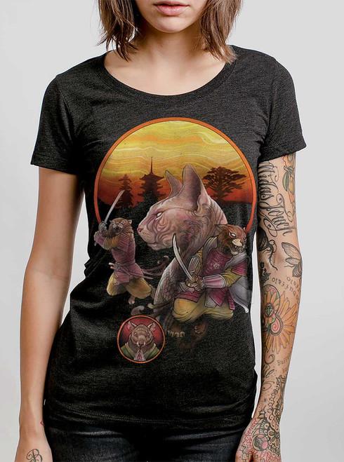 Samurai Cats  - Multicolor on Heather Black Triblend Junior Womens T-Shirt