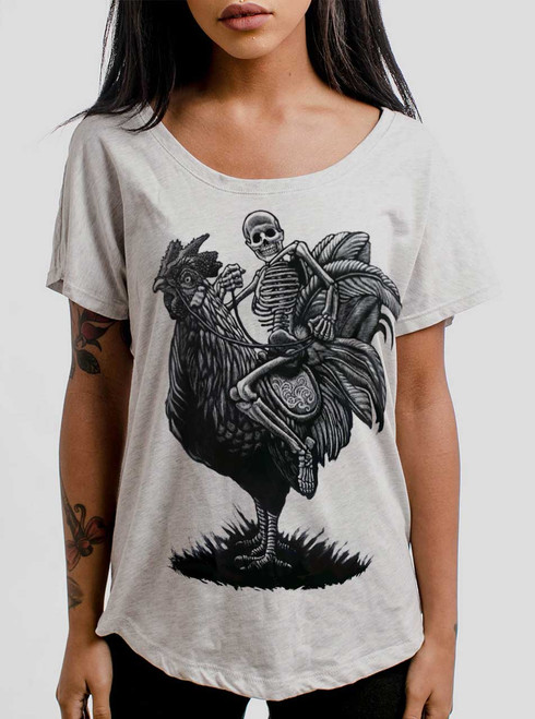 Rooster Ride - Black on Heather White Triblend Womens Dolman T Shirt