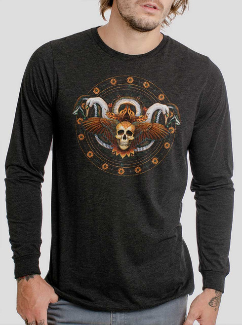 Serendipity - Multicolor on Heather Black Triblend Men's Long Sleeve