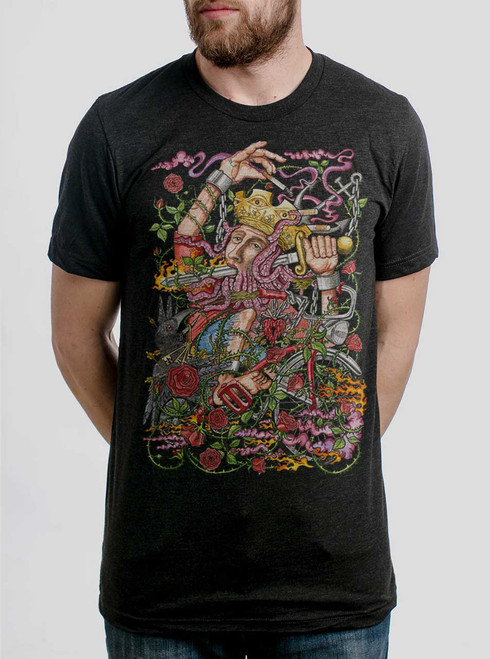 Suicide King - Multicolor on Heather Black Triblend Mens T Shirt