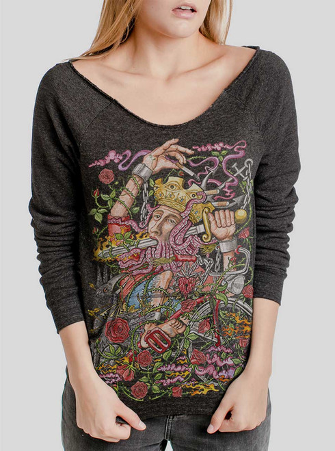 Suicide King - Multicolor on Charcoal Triblend Women's Maniac Sweatshirt