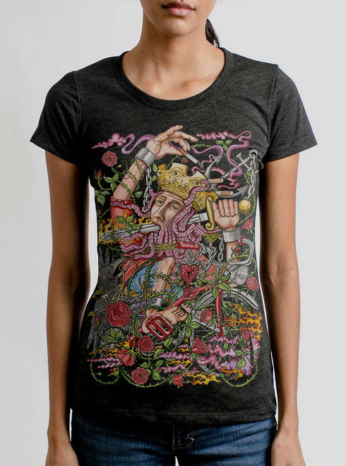 Suicide King - Multicolor on Heather Black Triblend Womens T-Shirt