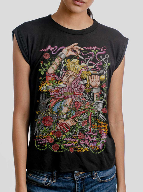 Suicide King - Multicolor on Black Women's Rolled Cuff T-Shirt