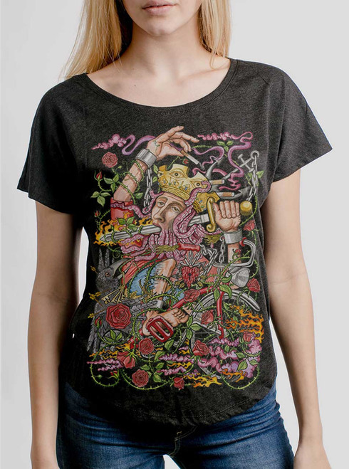 Suicide King - Multicolor on Heather Black Triblend Womens Dolman T Shirt