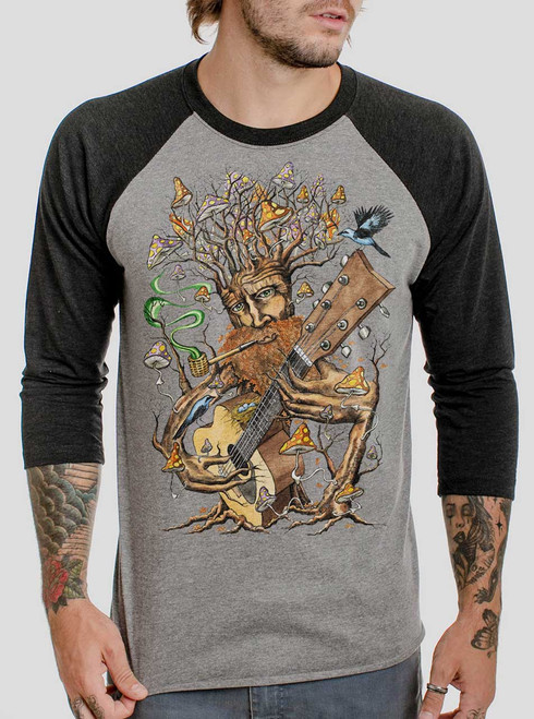 Forest Jam - Multicolor on Heather Grey and Black Triblend Raglan