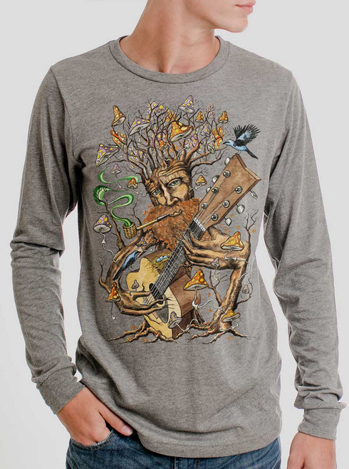 Forest Jam - Multicolor on Heather Grey Triblend Men's Long Sleeve