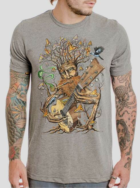 Forest Jam - Multicolor on Heather Grey Triblend Mens T Shirt