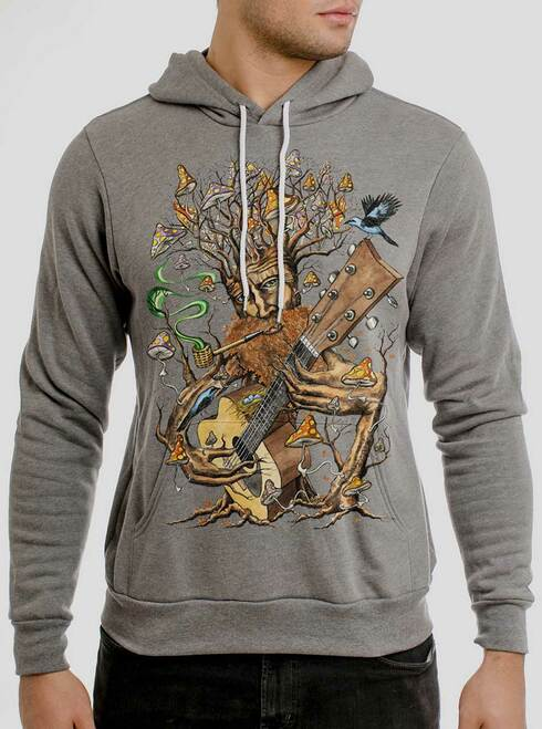 Forest Jam - Multicolor on Heather Grey Men's Pullover Hoodie