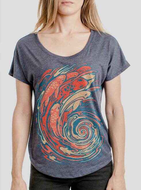 Koi Swirl - Multicolor on Heather Navy Triblend Womens Dolman T Shirt