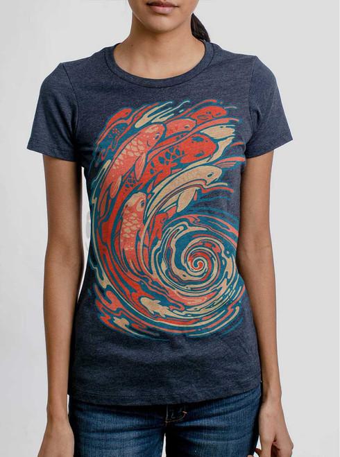 Koi Swirl - Multicolor on Heather Navy Women's T-Shirt