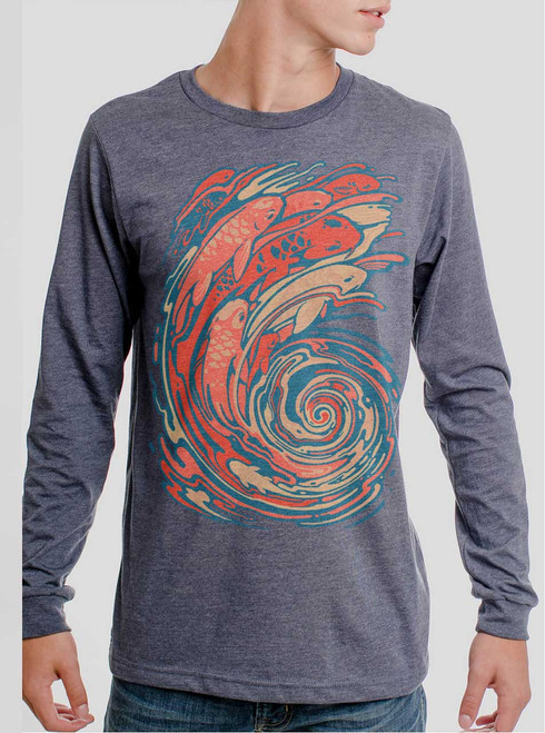 6bc2fddc7854a7 Koi Swirl - Multicolor on Heather Navy Men s Long Sleeve - Curbside ...