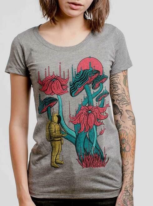 Space Discovery - Multicolor on Heather Grey Triblend Junior Womens T-Shirt