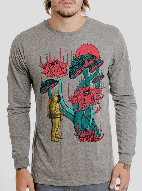 Space Discovery - Multicolor on Heather Grey Triblend Men's Long Sleeve
