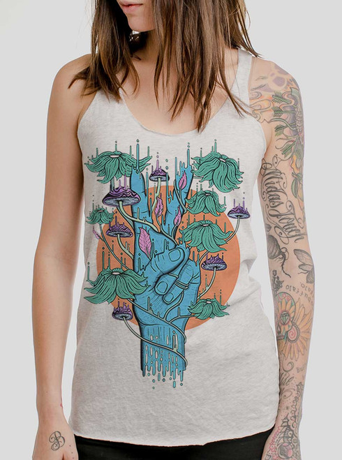 Peace Please - Multicolor on White Triblend Womens Racerback Tank Top