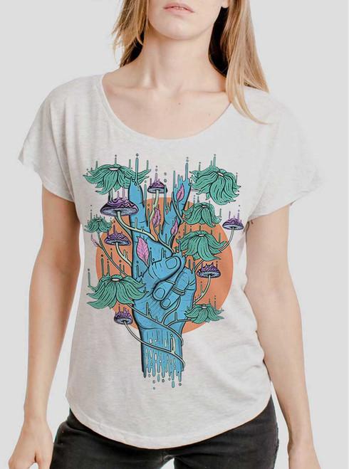 Peace Please - Black on Heather White Triblend Womens Dolman T Shirt