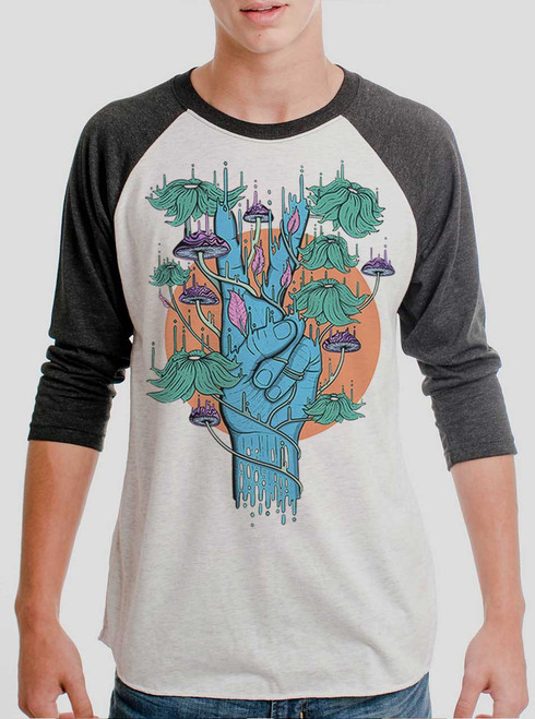 Peace Please - Multicolor on Heather White and Black Triblend Raglan
