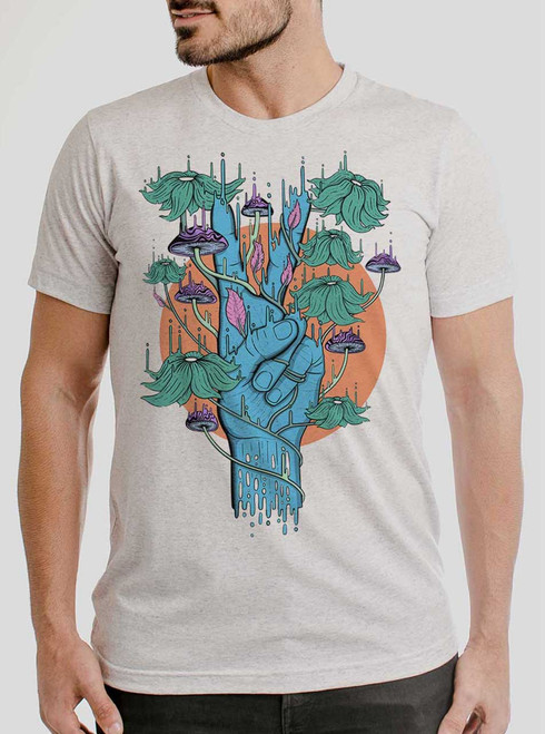 Peace Please - Multicolor on Heather White Triblend Mens T Shirt