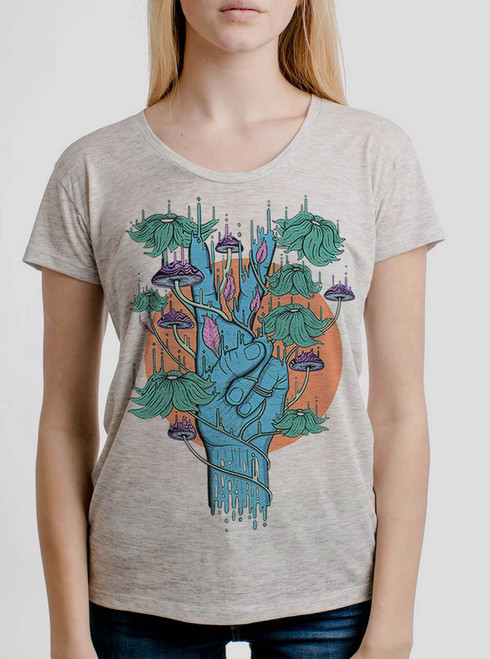 Peace Please - Multicolor on Heather Oatmeal Womens Relaxed Fit T Shirt