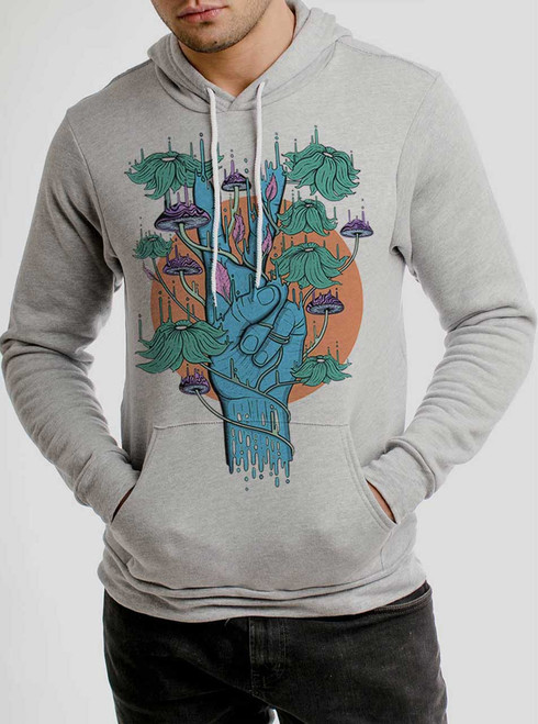 Peace Please - Multicolor on Athletic Heather Men's Pullover Hoodie