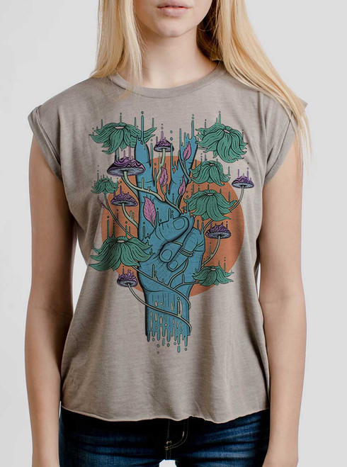 Peace Please - Multicolor on Heather Stone Women's Rolled Cuff T-Shirt