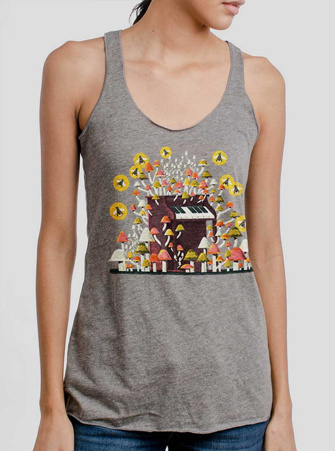 Piano Mushrooms - Multicolor on Heather Grey Triblend Womens Racerback Tank Top