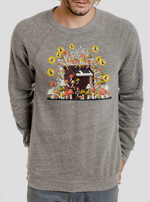 Piano Mushrooms - Multicolor on Heather Grey Triblend Men's Sweatshirt