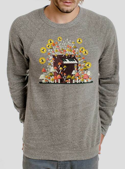 Piano Mushrooms - Multicolor on Heather Grey Triblend Men's Sweatshirt