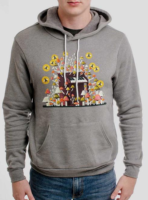 Piano Mushrooms - Multicolor on Heather Grey Men's Pullover Hoodie