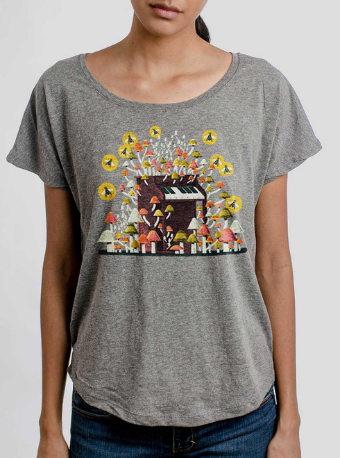 Piano Mushrooms - Multicolor on Heather Grey Triblend Womens Dolman T Shirt