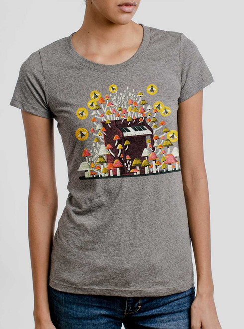 Piano Mushrooms - Multicolor on Heather Grey Triblend Womens T-Shirt