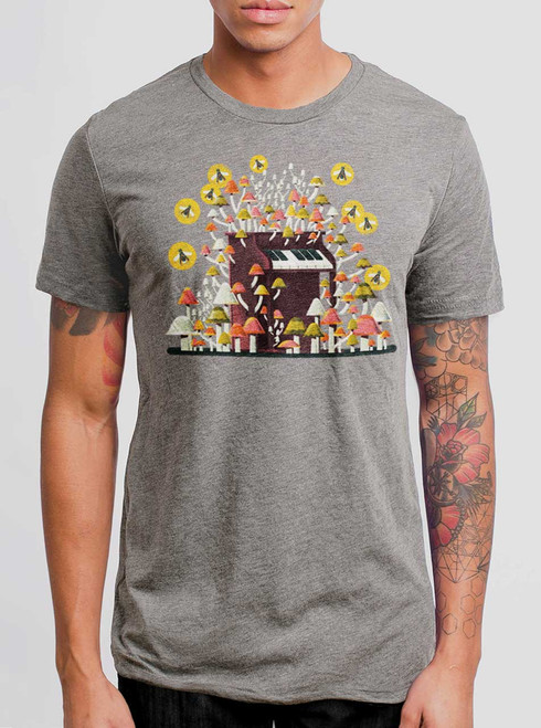 Piano Mushrooms - Multicolor on Heather Grey Triblend Mens T Shirt