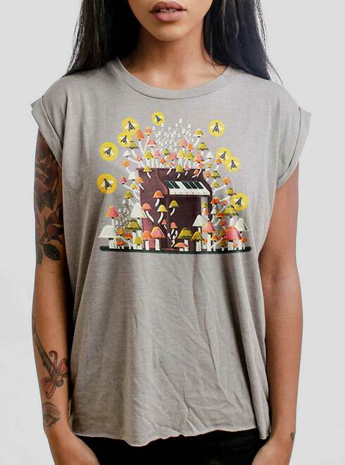 Piano Mushrooms - Multicolor on Heather Stone Women's Rolled Cuff T-Shirt