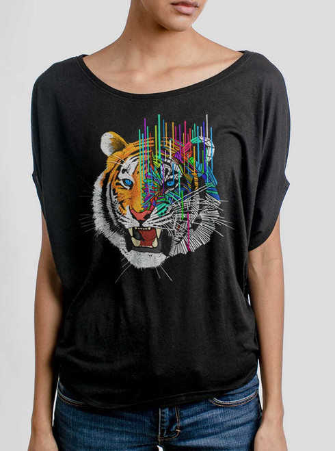 Melting Tiger - Multicolor on Black Women's Circle Top