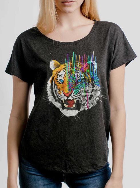 Melting Tiger - Multicolor on Heather Black Triblend Womens Dolman T Shirt