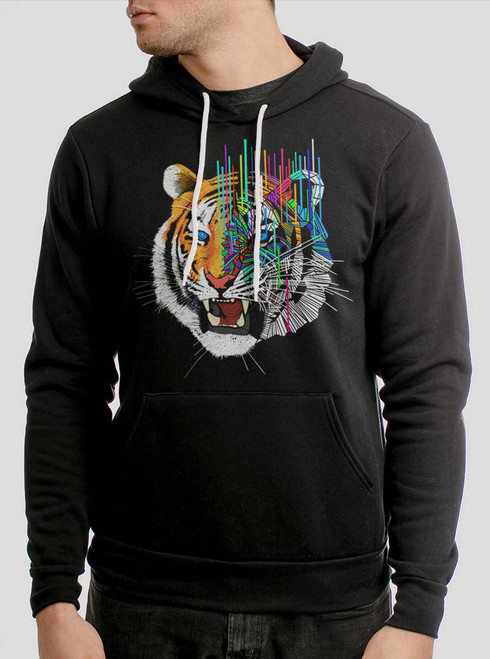 Melting Tiger - Multicolor on Black Men's Pullover Hoodie