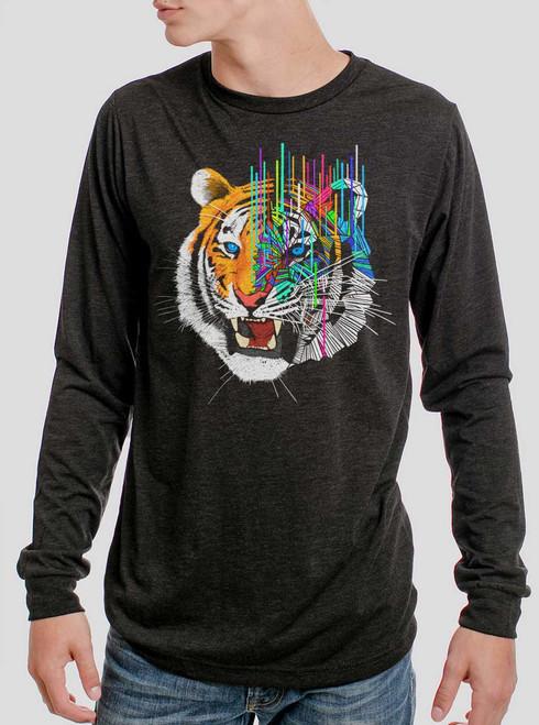 Melting Tiger - Multicolor on Heather Black Triblend Men's Long Sleeve