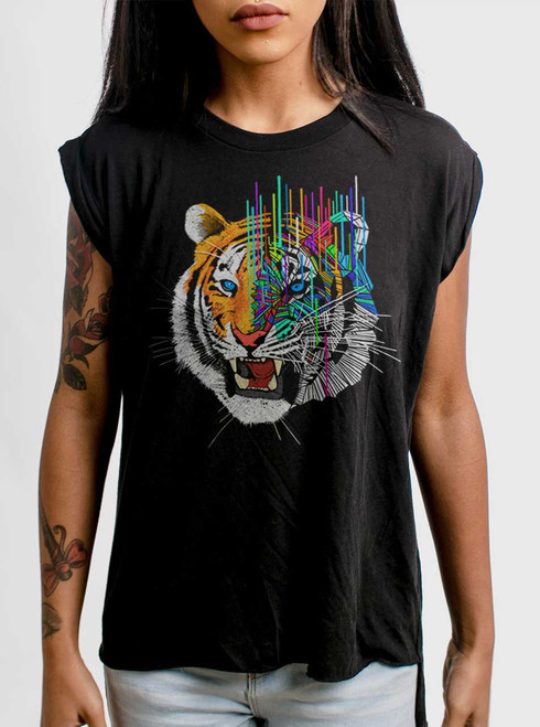 Melting Tiger - Multicolor on Black Women's Rolled Cuff T-Shirt