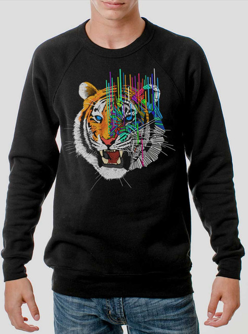 Melting Tiger - Multicolor on Black Men's Sweatshirt