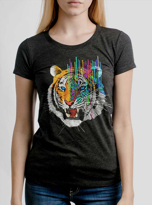 Melting Tiger - White on Heather Black Triblend Womens T-Shirt