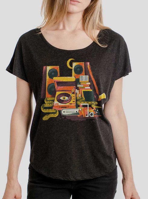Death Metal - Multicolor on Heather Black Triblend Womens Dolman T Shirt