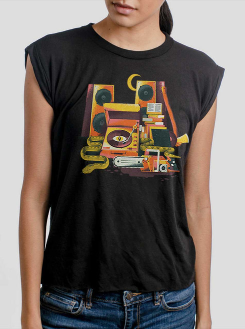 Death Metal - Multicolor on Black Women's Rolled Cuff T-Shirt