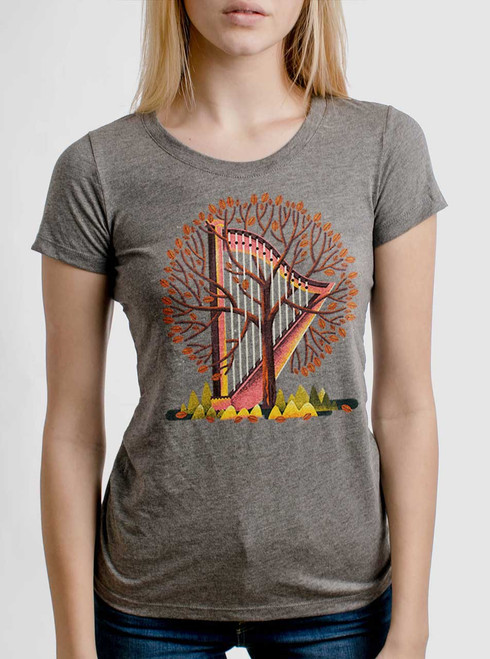 Tree Harp - Multicolor on Heather Grey Triblend Womens T-Shirt