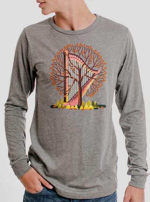 Tree Harp - Multicolor on Heather Grey Triblend Men's Long Sleeve
