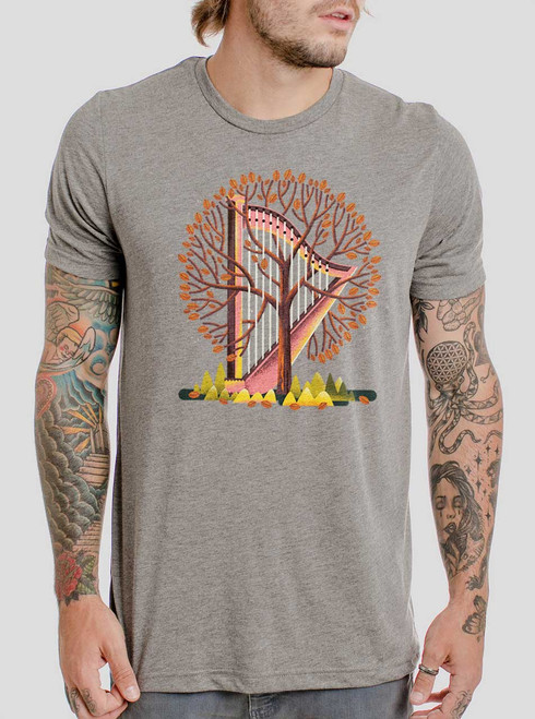 Tree Harp - Multicolor on Heather Grey Triblend Mens T Shirt