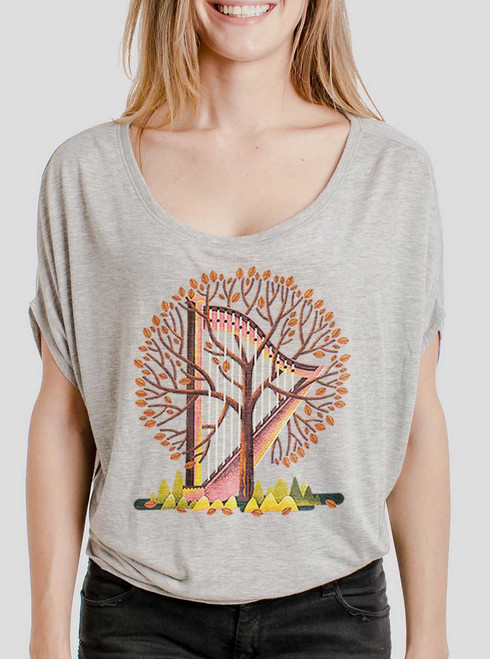 Tree Harp - Multicolor on Athletic Heather Women's Circle Top