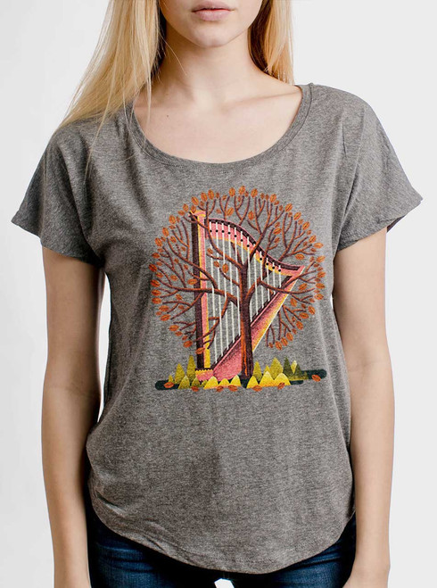 Tree Harp  - Multicolor on Heather Grey Triblend Womens Dolman T Shirt