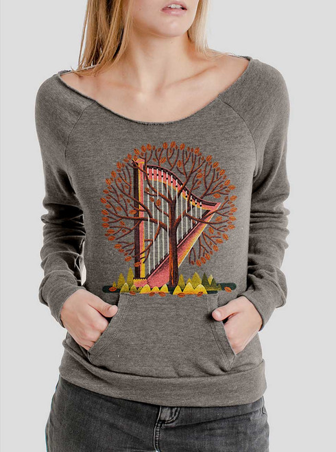 Tree Harp - Multicolor on Grey Triblend Women's Maniac Sweatshirt