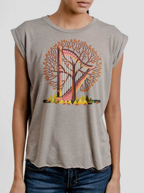 Tree Harp - Multicolor on Heather Stone Women's Rolled Cuff T-Shirt