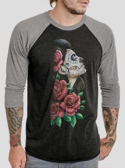 Lady of the Dead - Multicolor on Heather Black and Grey Triblend Raglan