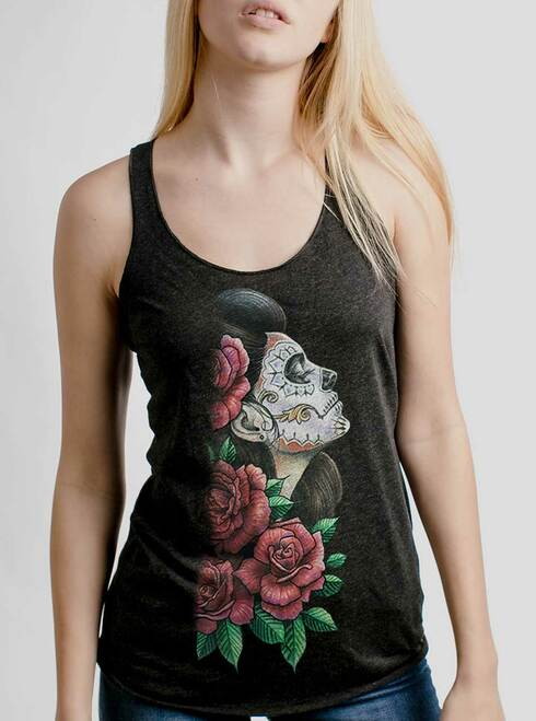 Lady of the Dead - Multicolor on Heather Black Triblend Womens Racerback Tank Top